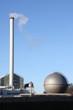 Schornstein und Gasbehälter