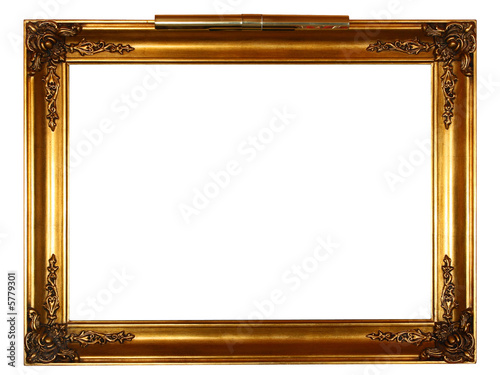 old vintage gold frame over white background