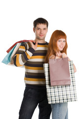 A photo of couple after shopping, isolated on white