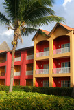 colorful resort hotel rooms in the Caribbean poster
