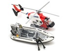 object on white - toy model motor boat and helicopter poster