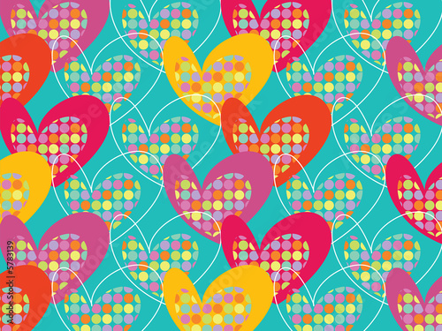 retro colorful pop dots hearts on turquoise