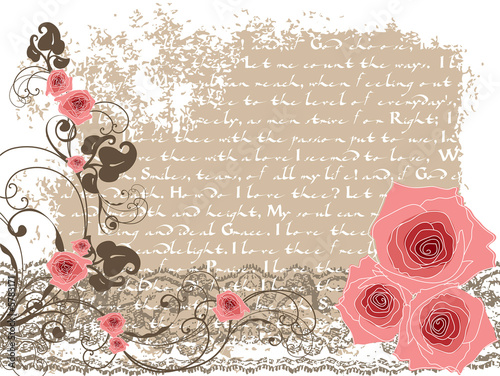 sweet pink roses and vintage poem