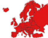 Carte Europe 3D Rouge poster