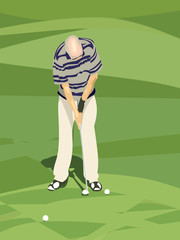 illustration of  senior golfer