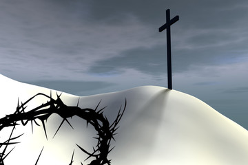 A thorn crown lies near a cross against overcasr sky