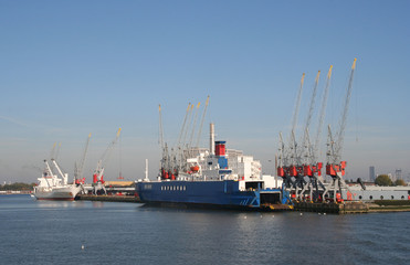Ships and cranes in Rotterdam harbor