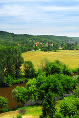 Scenic view on Dordogne river and contryside, France