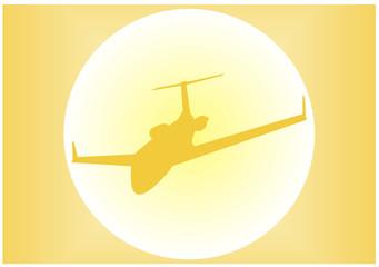 silhueta de um avião ao sol