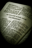 antique holy bible  the fifth book of moses  deuteronomy  poster