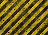 yellow hazard stripes full of bulletholes poster