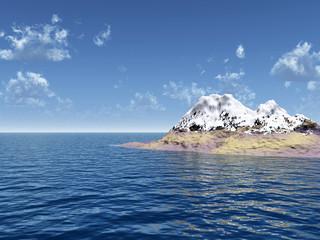 Snow peak mount on a blue sea - 3d scene.