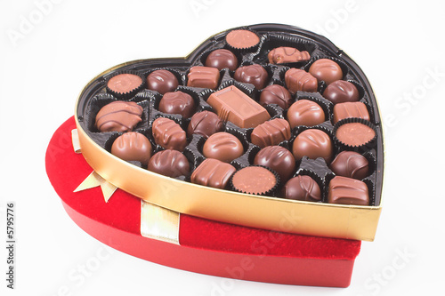 A heart shaped box of chocolate Valentines candy. - 5795776