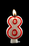 Burning number eight candle with dripping wax. poster