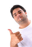 Man smoking making positive with the hand . poster