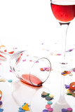 party is over, isolated against white background poster