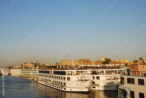 Hotel boats at Nile Luxor Egypt 4