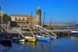 roussillon, côte vermeille : port et église de collioure