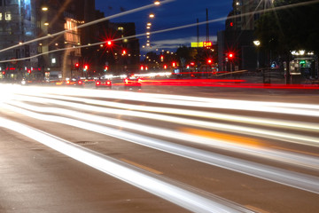 Traffic in the city by night