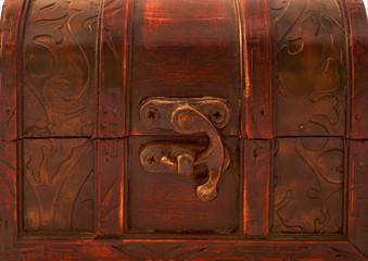 Front of old mahogany gift box