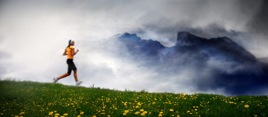 Girl Running on mountain