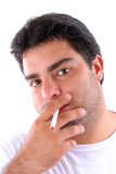 Young Man portrait smoking relaxed . poster