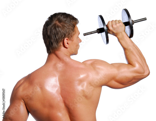 Man showing sports exercising. Isolated on white.