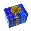 Christmas gift box with golden bow. Isolated on white.