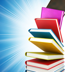 colored books on abstract background