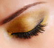 Fashion make-up — Bright yellow eyeshadow on eyes closed