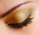 Fashion make-up — Bright yellow eyeshadow on eyes closed poster