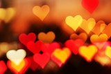 Blurred valentine background with heart-shaped highlights. poster