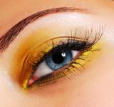 Make-up — Fashion bright yellow eyeshadow. poster