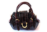 on photo leather feminine hand-bag brown colour poster