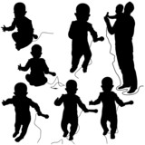 Baby DJ - black and white silhouettes
