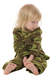 funny sitting cute little girl in military style pajamas poster