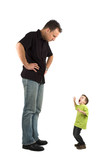 Caricature of a large father and an extra small child.
