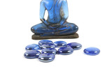 Blue healing stones and blue buddha - travel and tourism. poster