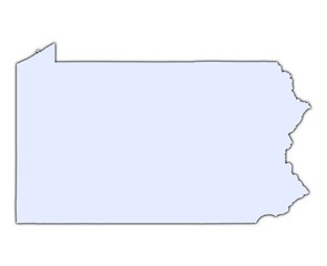 Pennsylvania (USA) light blue map with shadow