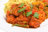 Chicken jalfezi with Bombay aloo and pilau rice