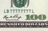 One hundred dollar bill with lucky number poster