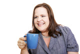 Pretty plus sized businesswoman having coffee and talking