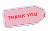 pink thank you tag isolated on white background poster