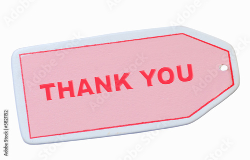 pink thank you tag isolated on white background