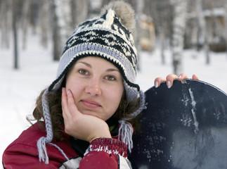 beautiful girl snowborder, snowfall