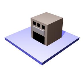 3d art of a warehouse building.