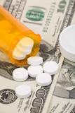 Medicine pills and dollar, concept of high cost medicine bill poster