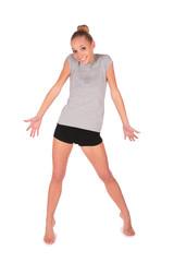 Sport girl shrug shoulders