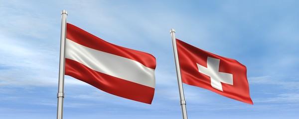 Fahnen Österreich-Schweiz