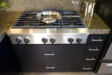 Kitchen with modern gas stove close-up.